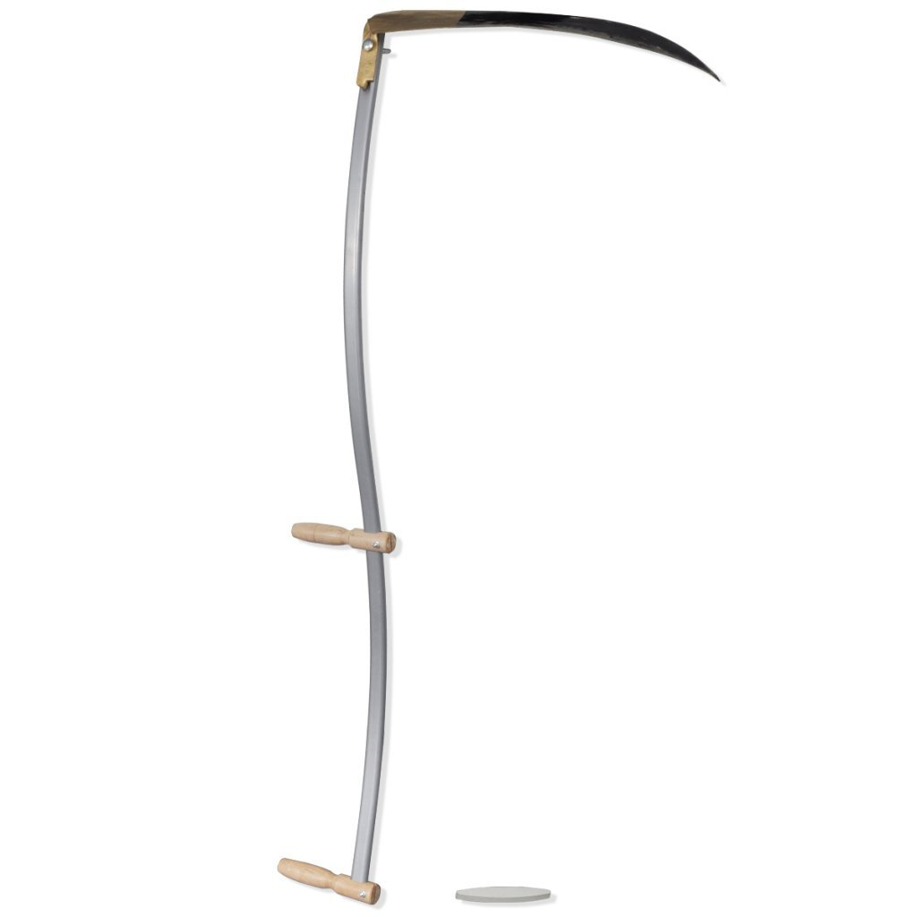 Anself Manual Steel Weed Scythe with Wooden Handle Grinding Stone 4' 7''