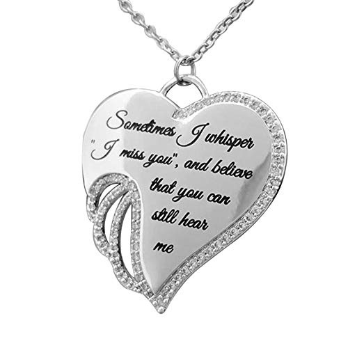 lightclub Fashion Angel Wing Letter Heart Charm Rhinestone Necklace Women Jewelry Gift - Silver Elegant Necklace for Women
