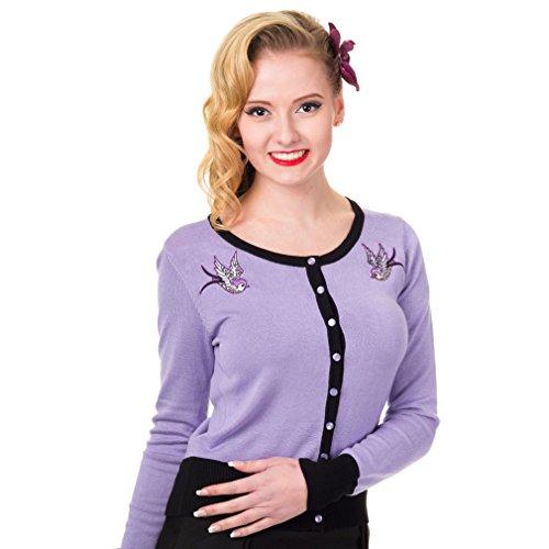 Banned Rockabilly Cardigan Twisted Swallows Mauve/Noir–Femme Veste en tricot style rétro avec brodée Schwalbe jusqu'à 4X L