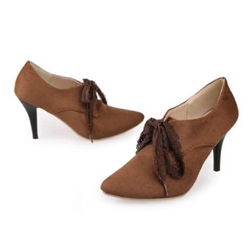 Charm Brown Ankle Boots High Heel Shoes Fashion Foot Womens rUwqFrz