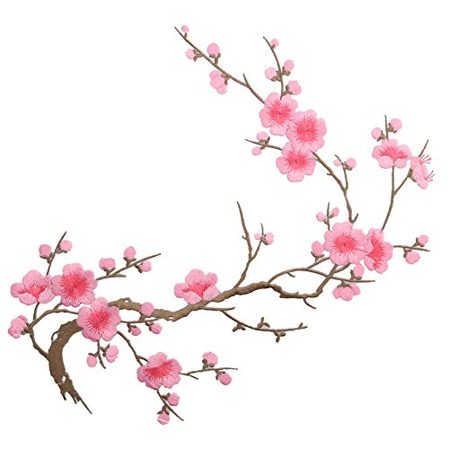 Feamos Impressed Embroidered Plum Blossom Flower Patch Decor on Applique Craft Iron On / Sew On Patch (Peach)