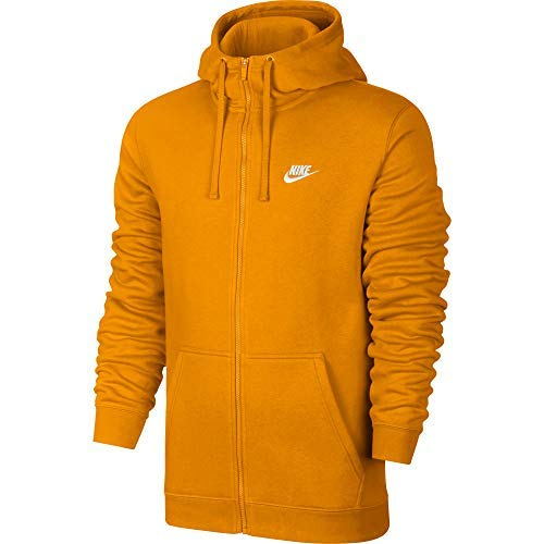NIKE Sportswear Club Fleece Full Zip Men's Hoodie Orange/White 804389-833 (Size S) ()