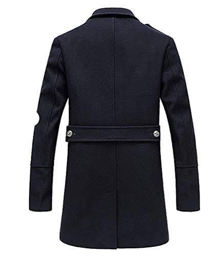 colore Pea Misto Dimensione Navy Da Invernale Giaccone Petto 3xl Asia Trench Doppio Navy Coat Cappotto Lungo Con Classico Zhrui In Uomo Lana qOPUw4xPa