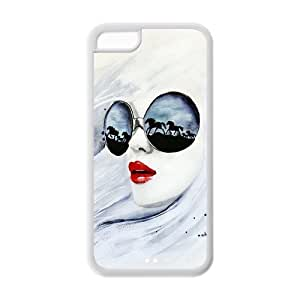 5C Case, iPhone 5C Case - Fashion Style New Enchanting Lover,Sexy Concubine,Mistress Painted Pattern TPU Soft Cover Case for iPhone 5C (Black/white)