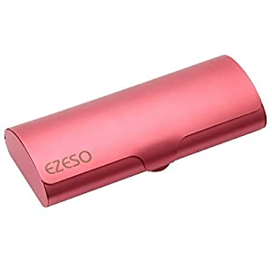 Aluminum Eyeglasses Case,EZESO Slim Light Weight Matte Hard Metal Spectacles (Grapefruit Red)