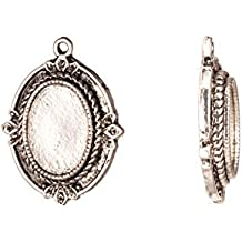Pendant, Antique-silver Plated Rope Edge Spike Cabochon Setting 32.8x25mm with 18x13mm Mount