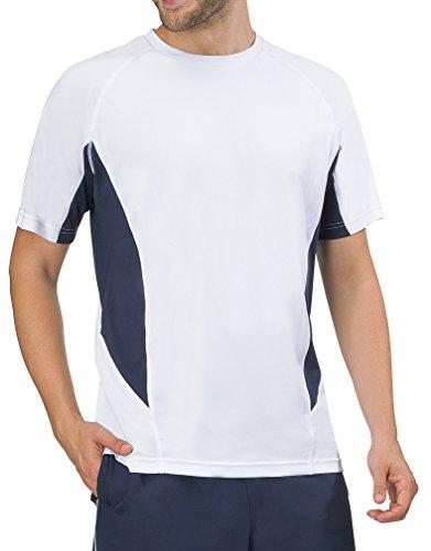 Fila Men's Core Color Blocked Crew Tennis Shirt, White, Peacoat, M (Color Blocked Crew Neck Tee)