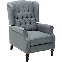 GDF Studio 299603 Elizabeth Tufted Charcoal Fabric Recliner Arm Chair