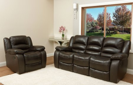 Abbyson Living Ashlyn CH-8801-BRN-3/1 2-Piece Living Room Set with Italian Leather Reclining Sofa and Recliner Chair in Dark