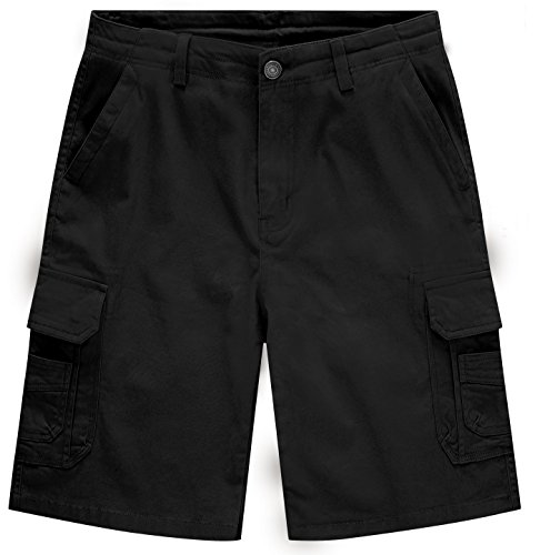 WenVen Men's Classic Stretch Cotton Cargo Shorts, Black, 30 (Belted Stretch Cotton)