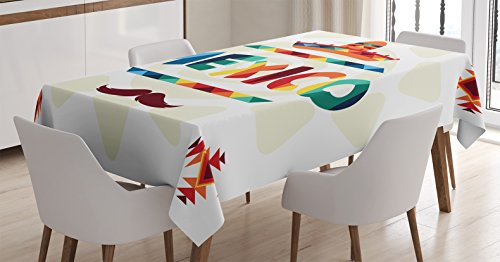Ambesonne Mexican Tablecloth, Mexico Traditional Aztec Motifs and Sombrero Straw Hat and Moustache Graphic Print, Dining Room Kitchen Rectangular Table Cover, 60