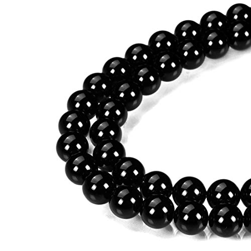 MOKYYus Onyx Beads, 8mm Natural Onyx Stone Beads, Smooth Surface Black Agate Round Beads for Jewelry Making ()