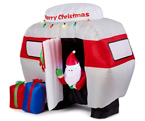 NL 6 ft Inflatable Santa in Camper Merry Christmas Lights Presents Holiday Yard Art