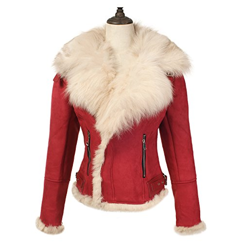 She'sModa Celeb Real Fox Fur Lapel Suede Leather Jacket With Thick Fleece Women's Winter Coat Moto Jacket S (Genuine Suede Leather Skirt)