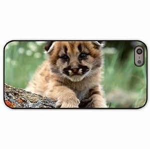 iPhone 5 5S Black Hardshell Case leopard cub predators big baby Desin Images Protector Back Cover
