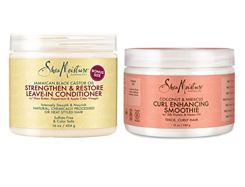 Shea Moisture Conditioner & Smoothie Combination Pack -Strengthen & Restore Leave-In Conditioner, 16 oz. & Coconut & Hibiscus Curl Enhancing Smoothie 12 oz.