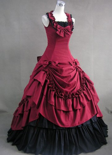 Gothic Victorian Red and Black Short Sleeve Lolita Bow-knot Dress (Medium)