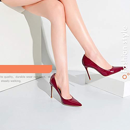 Vernice Col Elegante A Scarpe Donna Rosso Tacco Moda 6cm Punta Slip Classico Da On Ufficio Tenthree Alto Stiletto tXgqwg