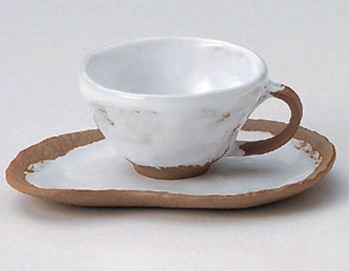 WHITE-SHINO 3.7inches Set of 10 Cups & SaucersJiki Japanese Original Porcelain by Watou.asia