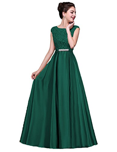 (Long Sexy Green Scoop Lace Satin Bridesmaid Evening Dressing Gown Size 2)