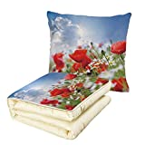Quilt Dual-Use Pillow Country Decor Idyllic Spring Meadow with Poppy and Daisy Flowers Sunny Sky Clouds Garden Decorative Multifunctional Air-Conditioning Quilt Multicolor