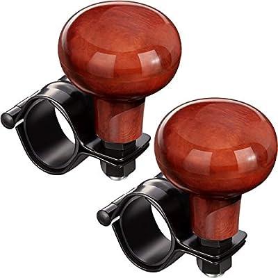 2 Pieces Steering Wheel Spinner Knob Steering Wheel Booster Knob Wooden Vehicle Wheel Spinner Fitfor VehicleCars Trucks Semis Tractors BoatsLawn Mowers and Lawn Tractors: Automotive
