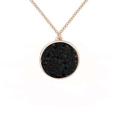 MANZHEN Simple Round Black Lava Rock Stone Pendant Necklace Jewelry for Women (Rose Gold)