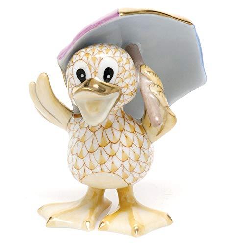 Herend Duck Just Ducky Porcelain Figurine Butterscotch Fishnet