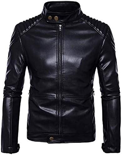 Godyers Men`s Faux Pu Jacket Stand Collar Zip Front Regular Fit Motorcycle Jacket Coat