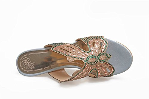 Sandal Open Wedges Green Slipper Rhinestone Toe Womens Charm Foot tq60wIxB
