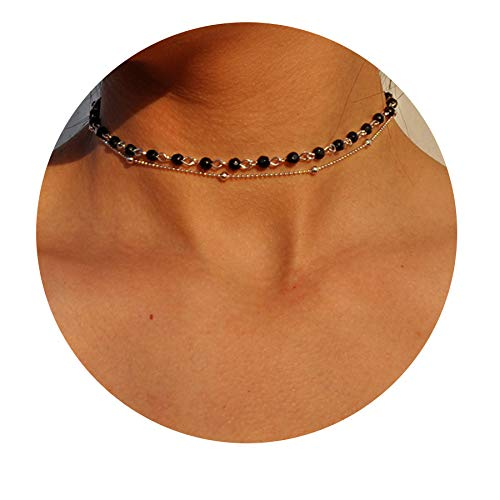 Fettero 14K Gold Plated Dainty Layered Black Natural Stone Beaded Choker Necklace, Handmade Beads Chain (NK5-6)