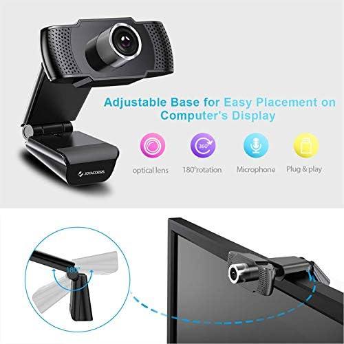 Camara web 1080P HD con micrófono, cámara web de computadora USB para computadora portátil, reducción de ruido, visión de ángulo amplio de 105 ° para streaming, confrencia de zoom, juegos, YouTube Skype FaceTime. (Negro) 41zCQw YayL