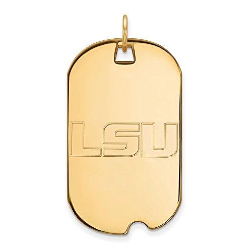 10k Yellow Gold Louisiana State LSU Tigers School Letters Dog Tag Pendant L - (40 mm x 24 mm) - Lsu 10k Tigers