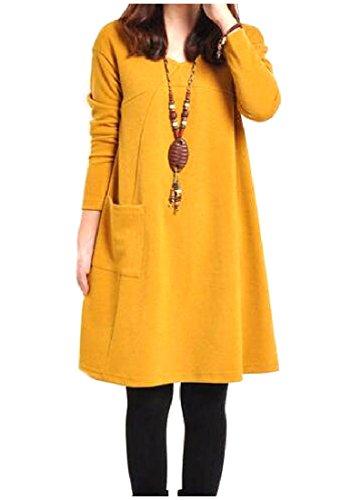 Lunga Collo Sulla Vestito Inchiostro Donne Comodi Giallo Elegante Più Manica Tasca Il Di Di Formato V Pullover 1PzOqP