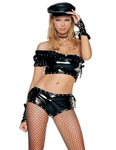 Biker Babe Costumes (Leg Avenue 4Pc. Biker Babe Include Top, Lace Up Side Ruffle V3018 Black Medium)