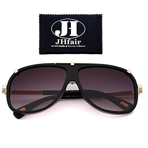 JHfair Large Retro Aviator Fashion Mens Sunglasses Brand - Brand Sunglasses Designer