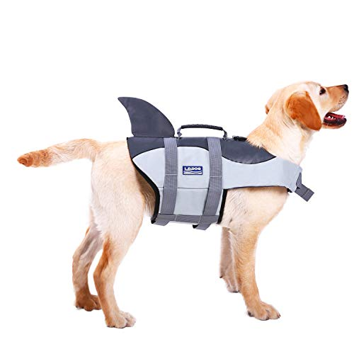 ASENKU Dog Life Jacket Ripstop Pet Floatation Vest Saver Swimsuit Preserver for Water Safety at The Pool, Beach, Boating (2XL, Grey)