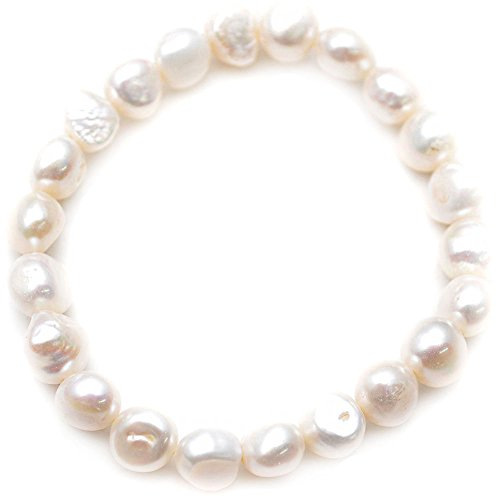 Oval Freshwater Cultured Pearl Bracelet (Flourishbeads Cultured Fresh Water Pearl Flat Oval Beads Stretch Bracelet Fashion Woman Jewelry (White))