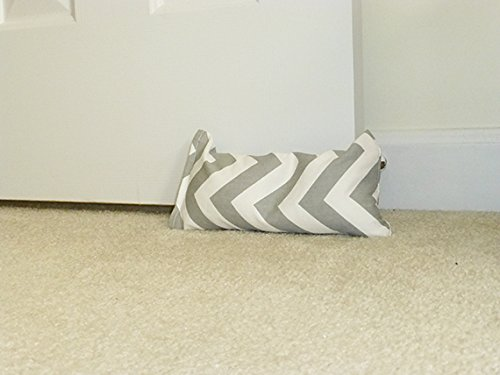 Doorstop in Grey Chevron Fabric Collection by Appleberry Attic, Unfilled Grey Door (Attic Fabric)