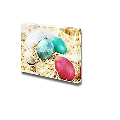 Canvas Prints Wall Art - Three Colored Easter Eggs Hidden in Straw | Modern Wall Decor/Home Art Stretched Gallery Canvas Wraps Giclee Print & Ready to Hang - 32