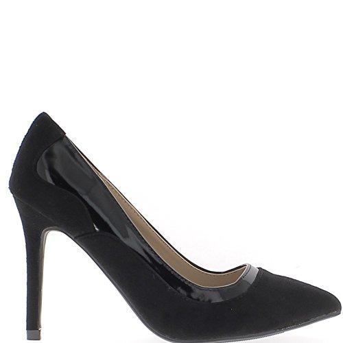 Señaló los zapatos negros con tacones fina 10cm gamuza y cuero look