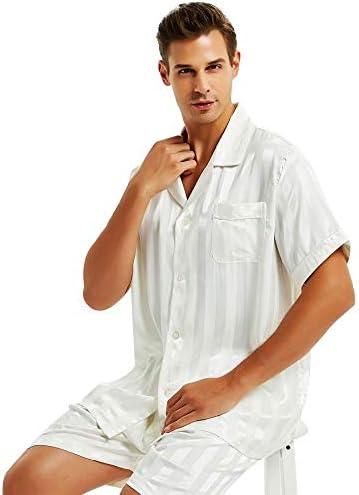 パジャマ CHJMJP メンズシルクサテンショートパジャマセットパジャマパジャマセットセットパジャマ男性用のスーツスリーピング (Color : 白, Size : XXXL)