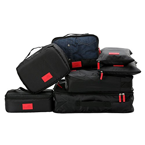 Packing Cubes Value Set for Travel by U-MISS,7pcs Travel Essential Bag-in-Bag Travel Luggage Organizer Storage Handle Bag Pouch Set