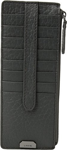 Lodis Accessories Women's Borrego RFID Under Lock & Key Credit Card Case with Zipper Pocket Slate One Size