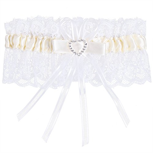 iiniim Bridal Lace Wedding Garter with Crystal Rhinestones Heart Satin Bow Cream One Size