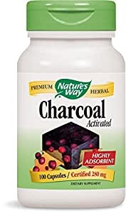 Nature's Way Charcoal Activated, 100 Capsules, 280 mg