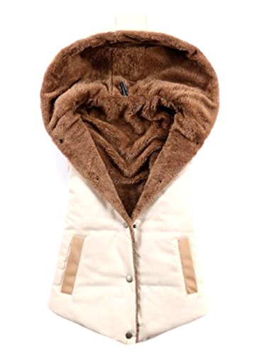 Warm AngelSpace Hooded Cozy Beige Down Parka Solid Vest Cardigan Women's Pockets at0wrnqaF