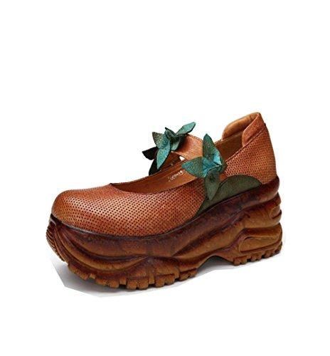 Baja ZFNYY Fondo de de a Mujer Retro Zapatos Hebilla Grueso Zapatos con Hechos Muffin Boca Mano creativos Inferior PIPwr4qx