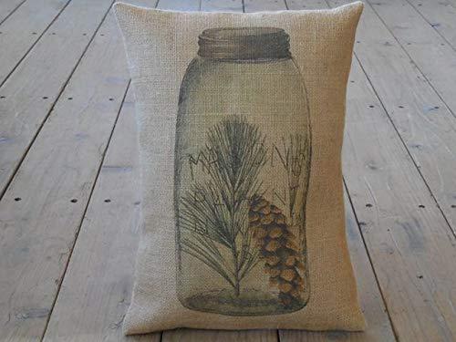 Athena Bacon Mason Jar Pinecone Burlap Pillowcase Cover Mason Jar Patent French Country Farm Rustic Farmhouse