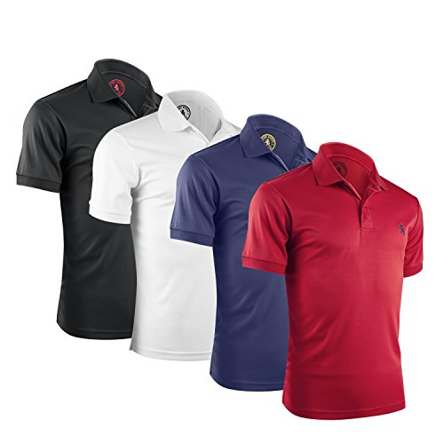 Alfred Morris Men's Polo Shirts - 4 Pack - Comfortable Short Sleeve Polo Shirts - American Classics (Large, Black / White / Red / Blue)